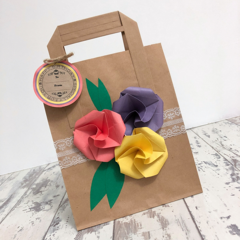 homemade origami flower gift bag
